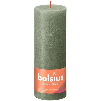 Bolsius Rustic Shine unscented solid pillar candle 190/68 mm 19 cm - Fresh Olive