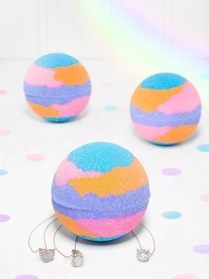 Charmed Aroma Rainbow Shimmer jewel bath bomb with Sterling Silver 925 Necklace