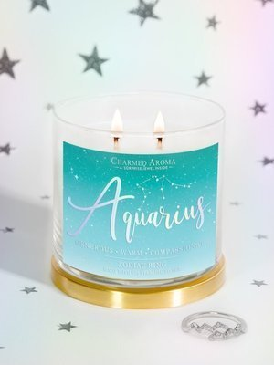 Charmed Aroma jewel soy scented candle with Silver Ring 12 oz 340 g - Aquarius Zodiac Sign