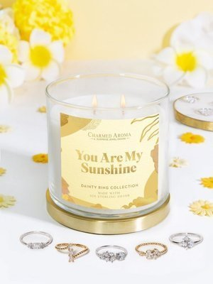 Charmed Aroma jewel soy scented candle with Silver Ring 12 oz 340 g - You Are My Sunshine