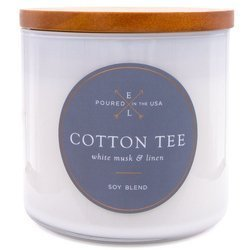 Colonial Candle Luxe large soy scented candle wooden wick 368 g - Cotton Tee