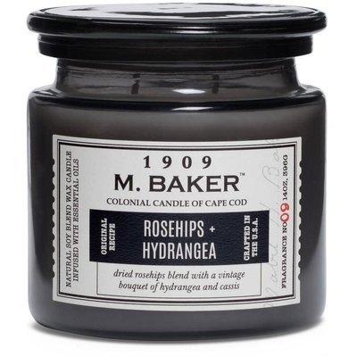 Colonial Candle M. Baker large soy scented candle apothecary jar 14 oz 396 g - Rosehips & Hydrangea