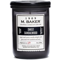 Colonial Candle M. Baker soy scented candle apothecary jar 8 oz 226 g - Sweet Sandalwood
