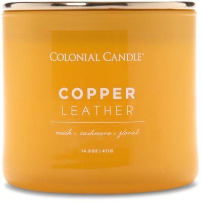 Colonial Candle Pop of Color large soy scented candle 3 wicks 14.5 oz 411 g - Copper Leather