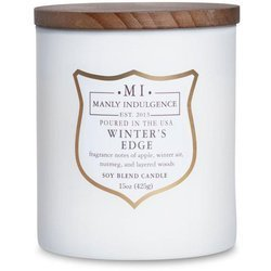 Colonial Candle wooden wick soy scented candle grey 15 oz 425 g - Winter's Edge