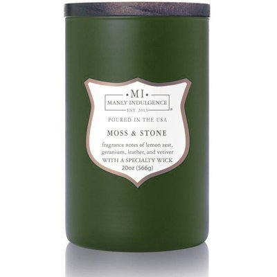 Colonial Candle wooden wick soy scented candle grey 20 oz 566 g - Moss & Stone