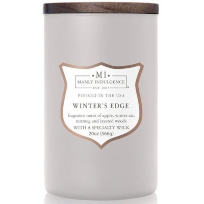Colonial Candle wooden wick soy scented candle grey 20 oz 566 g - Winter's Edge