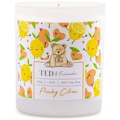Ted & Friends scented soy candle in white glass 220 g - Peachy Citron