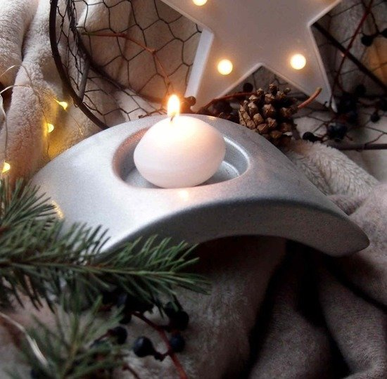Christmas candle holder for candles - Silver