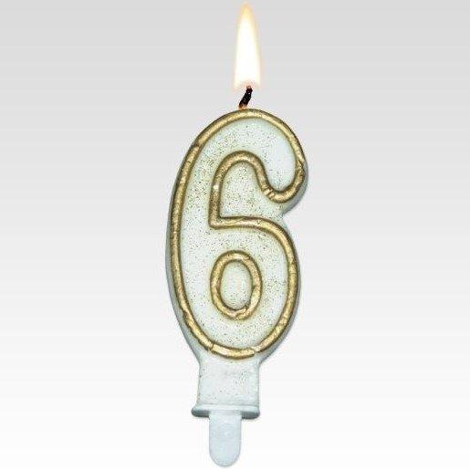 Tamipol świeczka urodzinowa cyferka biała ze złotym brokatem na urodzinowy tort - cyfra 6