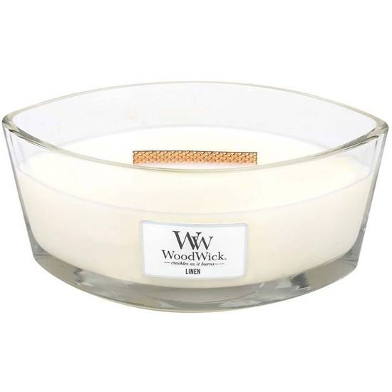 Woodwick Core Heartwick Ellipse Large Scented Candle with Wooden Wick 16 oz 453.6 g - Linen