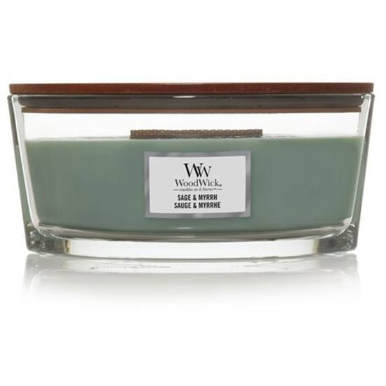 Woodwick Core Heartwick Ellipse Large Scented Candle with Wooden Wick 16 oz 453.6 g - Sage & Myrrh