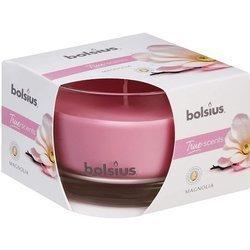Bolsius średnia świeca zapachowa w szkle 63/90 mm True Scents różowa - Magnolia