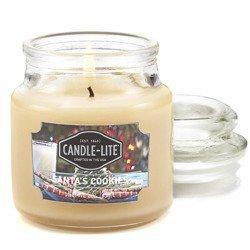 Candle-lite Everyday mała świeca zapachowa w szkle z pokrywką 95/60 mm 85 g - Santa's Cookies