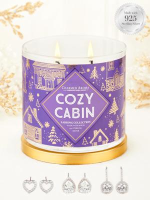 Charmed Aroma sojowa świeca zapachowa z biżuterią 12 oz 340 g Kolczyki srebro 925 - Cozy Cabin