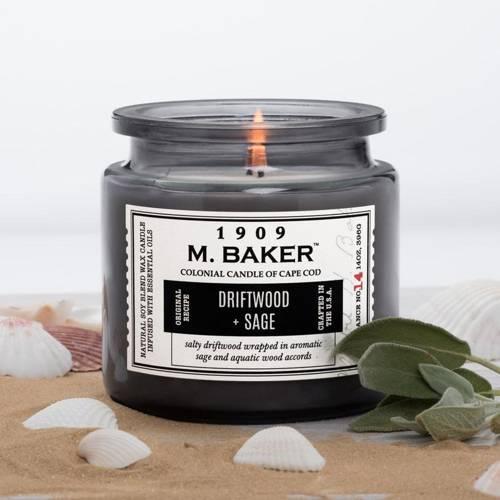 Colonial Candle M. Baker duża sojowa świeca zapachowa w słoju 14 oz 396 g - Driftwood & Sage