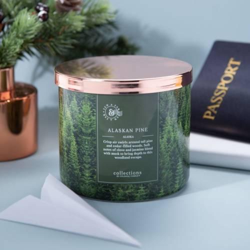 Colonial Candle Travel sojowa świeca zapachowa w szkle 3 knoty 14.5 oz 411 g - Alaskan Pine