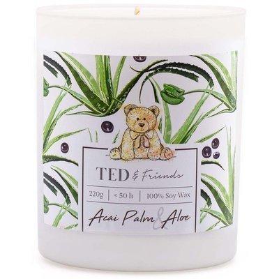 Ted & Friends sojowa świeca zapachowa w białym szkle 220 g - Acai Palm & Aloe