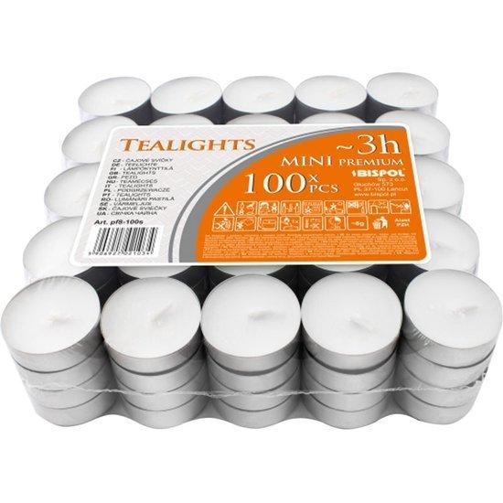 Bispol Mini Premium Lights podgrzewacze tealighty bezzapachowe ~ 3 h 100 szt białe