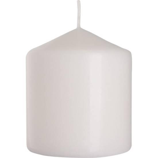 Bispol świeca bezzapachowa bryłowa pieńkowa słupek 90/78 mm - Biała