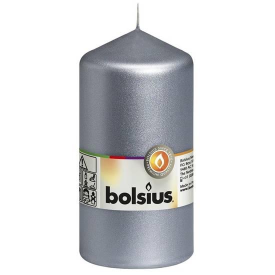 Bolsius świeca bryłowa pieńkowa słupek tradycyjna bezzapachowa 13 cm 130/68 mm - Srebrna