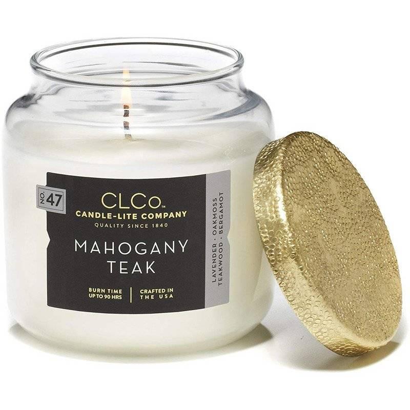 Candle-lite CLCo Candle Jar 14 oz luksusowa świeca zapachowa w szklanym słoju ~ 90 h - No. 47 Mahogany Teak
