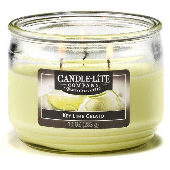 Candle-lite Everyday Collection 3-Wick Terrace Jar Glass Candle 10 oz świeca zapachowa w szkle z trzema knotami 82/105 mm 283 g ~ 40 h - Key Lime Gelato
