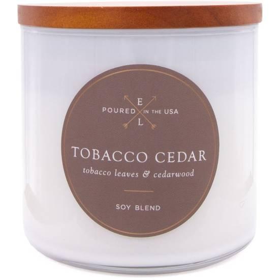 Colonial Candle Luxe sojowa świeca zapachowa w szkle drewniany knot 368 g - Tobacco Cedar