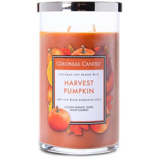 Colonial Candle jesienna sojowa świeca zapachowa w szkle 2 knoty 18 oz 510 g - Harvest Pumpkin